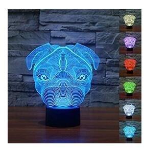 3D Süßer Mops Hund Shar Pei Optische LED Illusion Lampen 7 Farbe blinkende Kunst Skulptur Lichter Schlafzimmer Schreibtisch Tisch Nacht Licht Awesome Geschenke - Chrome Base Bar Tisch