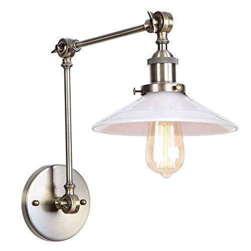 WVUSGDTT Schaukelstuhl Langarm Wandlampe Milch Weiß Glas Schatten Stil Loft Wandleuchte Beleuchtung Vintage Industrial Verstellbar für Wohnzimmer Schlafzimmer E27 Large Grün Bronze -
