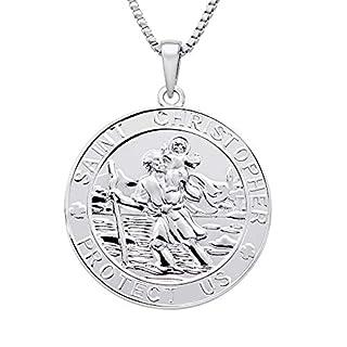 FJ Schmuck 925er Sterling Silber Heiliger Christopherus Runder Münzanhänger mit Halskette für Sie