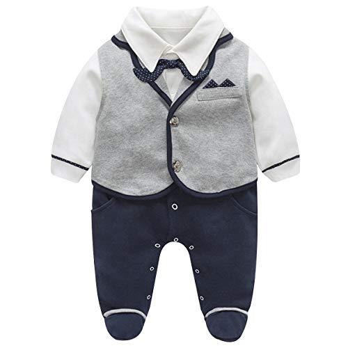 famuka Baby Junge Smoking Neugeborenen Anzug Taufe Hochzeit Babykleidung (Grau, 3-6 Monate)