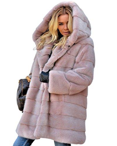 Aofur Damen Jacke Gefüttertjacke Steppjacke Kapuze Pink Rose Kunstpelz Winterjacke Mantel Parka Größe 36 bis 50 (42 44/Tag L, Pink)