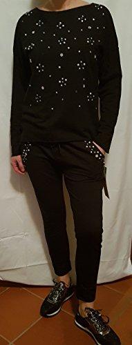 tuta sport sportiva donna felpa e pantaloni cavallo basso con strass e perle Nero