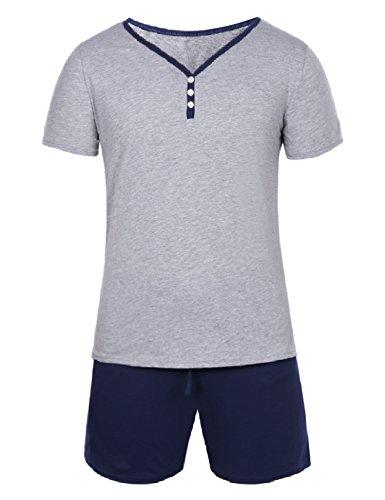 Hawiton Herren Schlafanzug Kurz Pyjama Baumwolle Sommer Nachtwäsche Shorty Schlafoberteil mit Knöpfleiste Blau XL
