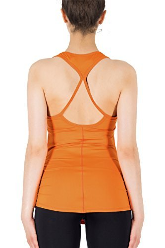 icyzone Damen Yoga Sport Top Lang - Fitness Gym Laufen Shirt Running Tanktop Vest (S, Dark Cheddar)