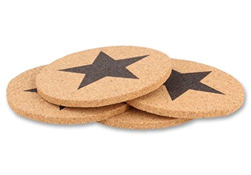 Bambelaa! 8er Set Untersetzer Star Stern aus Kork Glasuntersetzer Tassenuntersetzer (8 Stück) (Glas Sterne-schalen)