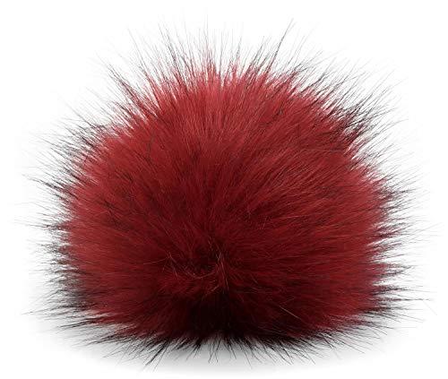 styleBREAKER Kunstfell Bommel für Mützen und Beanies, Fake Fur, Winter Fellbommel 04024161, Farbe:Bordeaux-Rot -