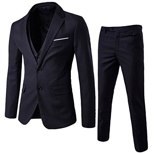 Herren 3-Teilig Anzug Slim Fit Zwei Knöpfe Anzughose Anzugweste von Allthemen Schwarz Large (Anzug Herren Schwarz 3-knopf)