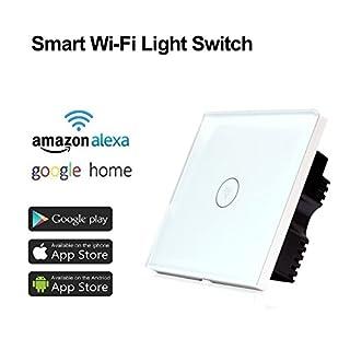 Coosa, intelligenter WLAN-Lichtschalter, kapazitiver Touch-Sensor mit einer Position und Kontrolle durch Handy-App, funktioniert mit Alexa und Google Home, weiß