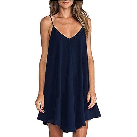 IHRKleid Femme Robe Licol Croix sangle robe irrégulière (Small, Bleu foncé)