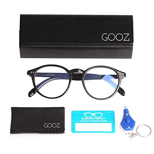 GOOZ Blaulichtfilter Brille Computer-Brille Blockieren von UV-Kopfschmerz und Augenbelastung,Gaming Brillen für PC, Handy und Fernseher Anti-Müdigkeit, Anti-Blaulicht, UV-Schutz Unisex (Black Round)