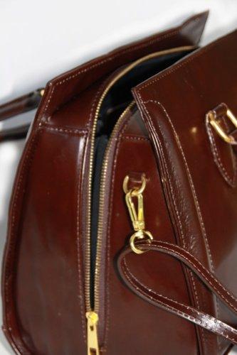 Leder Handgelenk-/ Umhängetasche mit Reissverschluß Mittelgroß ( Metallteile sind in Gold) Italy Mod.2024-p Dunkelbraun