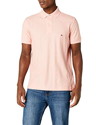 Tommy Hilfiger Herren Hilfiger Regular Polo Poloshirt, Rosa (Rose Tan 666), Medium - Rosa Baumwolle Polo-shirt