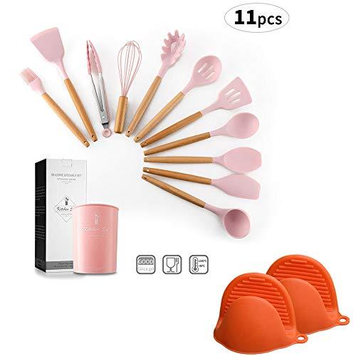 Juego de 11 utensilios de cocina de silicona con mango de madera de bambú para utensilios de cocina...