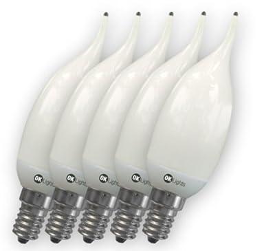 5 Stück Asuntec OK-Lights Schnellstart-Quality-Longlife Flammen-Kerzen-Energiesparlampe, 6 Watt, E14, 280 Lumen, warmweiß mit Swiss Quality Check von Asuntec auf Lampenhans.de