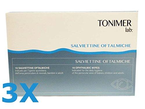 3X TONIMER LAB - Salviettine Oftalmiche per l'Igiene Quotidiana - 48 SALVIETTE