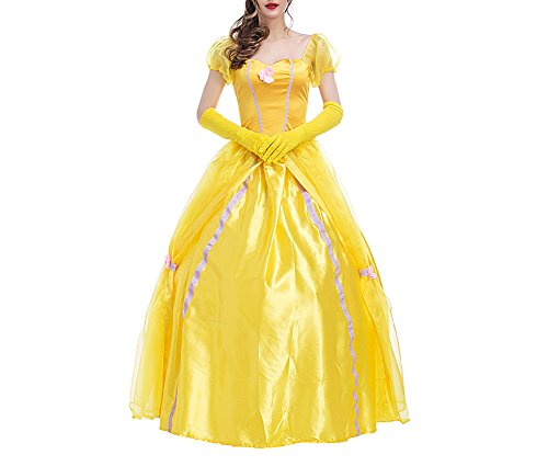 Kostüme Belle Sexy Adult (Feicuan Damen Prinzessin Fancy Dress Up Halloween Party Gelb Kostüm)