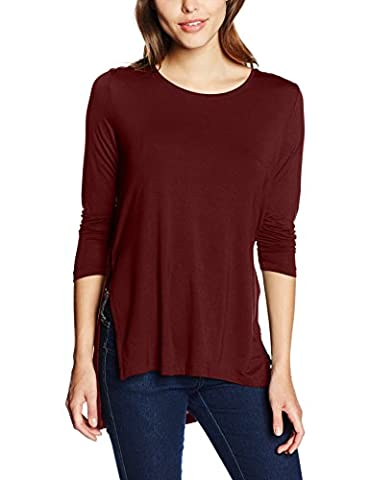 ONLY onlJEWEL 7/8 LONG SLIT TOP NOOS, T-Shirt À Manches Longues Femme, Rouge (Syrah), 42 (Taille fabricant: X-Large)