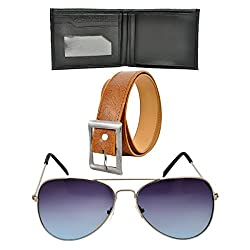 Rootz 1 Casual Belt,1 Sunglasses and 1 Wallet Men's Combo