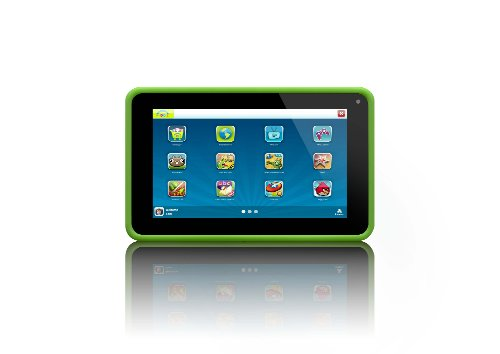 Lenco KIDZTAB-70 17,8 cm (7 Zoll) Tablet-PC (ARM Cortex-A8 Allwinner A13 Dual Core, 1,2GHz, 512MB RAM, 4GB SSD, 2 Kameras, USB, Micro SD-Kartenleser, HDMI, Android 4.2) mit Silikon-Schutzhülle für Kinder, grün - 512 Mb Ddr3 Video