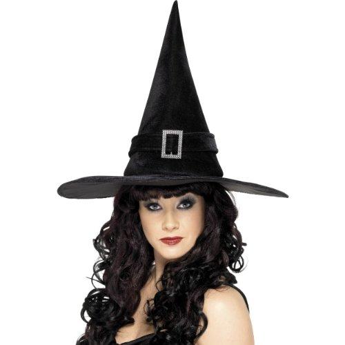 Diamant Kostüm Hexe - Smiffys Hexenhut in schwarz mit Diamant Schnalle zum Halloween Kostüm Hexe