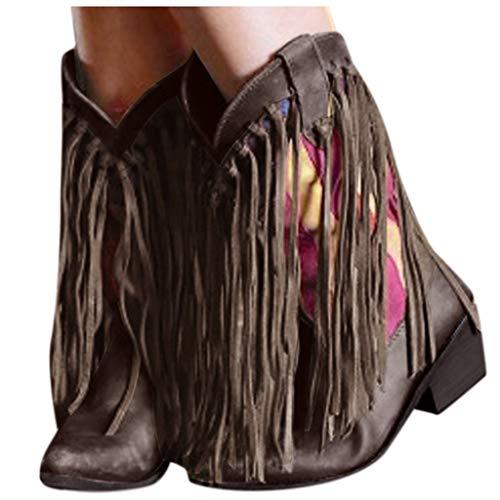 TianWlio Schuhe Damen High Heels Stiefel Frauen Farbmischung Quaste Spitzen Zehen Niedrige Stöckelschuhe Western Knight Stiefel Braun36