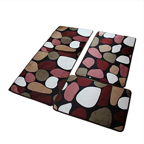 hysxm 3 Teile/Los Große Größe Badematte Für Die Küche WohnzimmerGünstige Große Rutschfeste Badezimmer Teppiche Teppich Set Badematte Farbige Kieselsteine