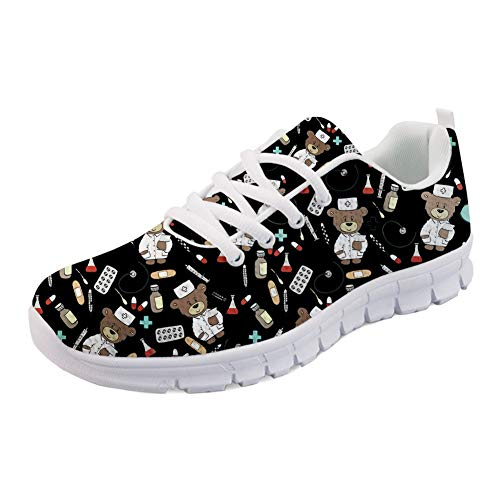 Coloranimal Air Mesh Leichtes Laufen Jogging Sneakers Casual DailyShoes für Teenager-Mädchen Coole Pediatrics Printed Lace-up Flats Go Easy Walking Schuhe EU Größe 40