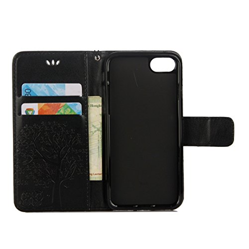 iPhone 6S Plus Coque Dragonne Portefeuille PU Cuir Etui,iPhone 6S Plus Coque Ultra Fine,iPhone 6 Plus Etui Cuir Folio Housse PU Leather Case Wallet Flip Protective Cover Etui [PU Cuir et TPU Silicone  Hibou - Noir