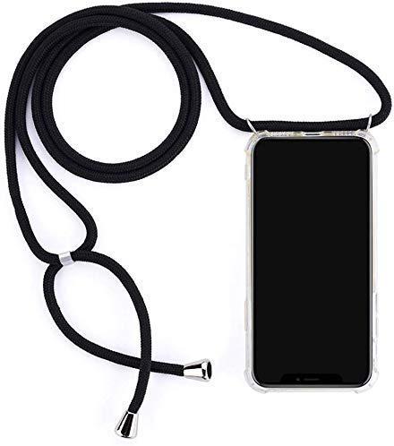 Herbests Kompatibel mit Huawei P Smart 2018 Handykette Hülle mit Umhängeband Durchsichtig Necklace Hülle mit Kordel zum Umhängen Schutzhülle Silikon Handyhülle Kordel Schnur Case,Schwarz