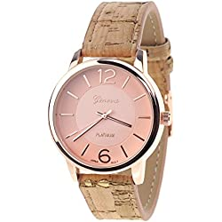 Women's Geneva Japanese Movement Rose Gold-Tone Wood Look Faux Leather Band Watch