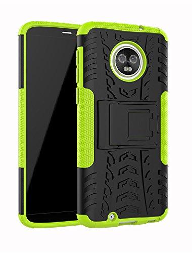 Moto G6Fall, Moment dextrad [Standfuß] [Rutschfeste Design] stoßfest Dual Layer Schutz und Rugged Hybrid Schutzhülle für Motorola Moto G6+ Stylus, GreenYellow Durable Hard Case