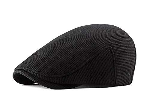 FENGFA Mütze Herren Winter Kappe Schiebermütze Gatsby Newsboy Stil Flatcap Schirmmütze (Schwarz)
