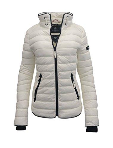 Marikoo Damen Übergangs Steppjacke Frühling Herbst Jacke mit Kapuze 11 Farben mit Camouflage XS - XXL Lola Weiß