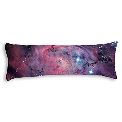 OneMtoss Space Nebula Universe Pattern Retro Galaxy Tribal Machine Washable Silky Shiny Satin Decorative Body Pillow Case Cover, 50cm x