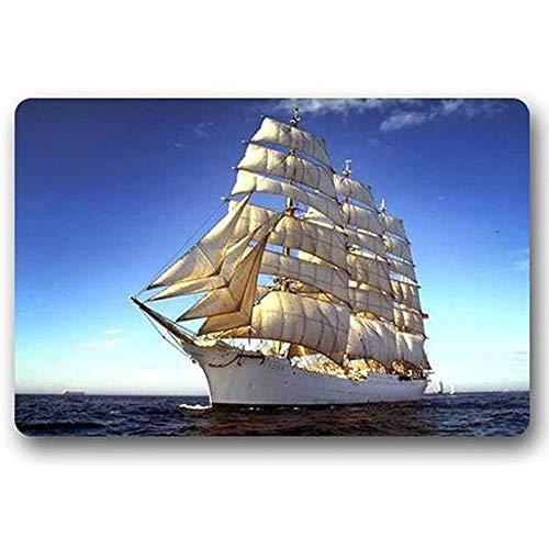 lxjlz Zerbino Moda Personalizzato Barca a Vela Corta Tessuto Peluche zerbino Coperta/Esterna Tappetino 40x60 cm