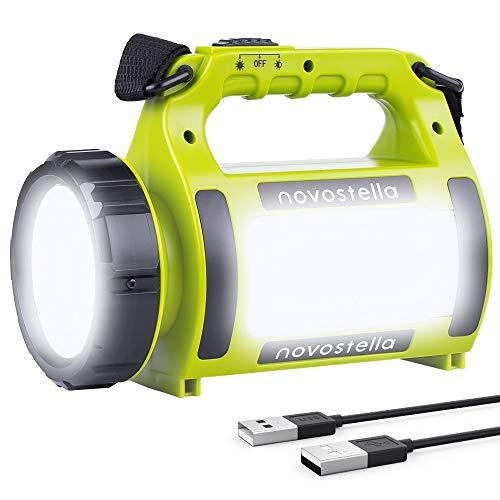 Novostella Wiederaufladbare CREE LED Handscheinwerfer 2000mAh, Ustellar Wasserdicht Suchscheinwerfer Dimmbar 3 Lichtmodi 2 Helligkeitsstufen Handlampe Akkulampe Powerbank Arbeitsleuchte für Camping