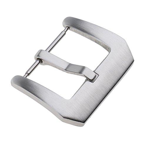 Homyl Edelstahl Schnalle Uhren-Schnalle Clasp für Leder, PU oder Gummiband Uhrenarmband - Silber - 16 mm -