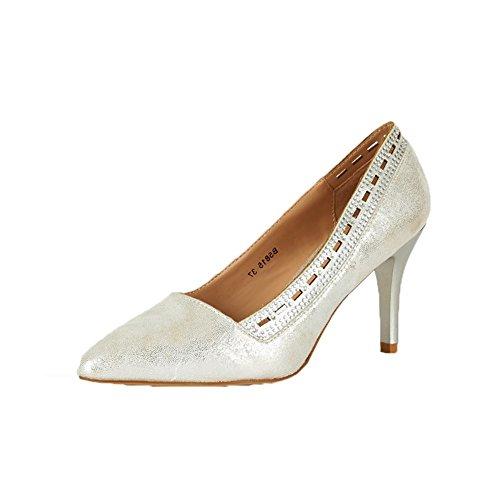 Mesdames a souligné toe escarpins avec talon moyen et découper motif silver