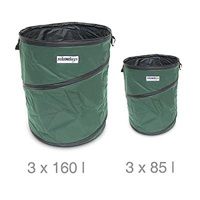 Relaxdays Gartensack faltbar 160 L, 3-er Set Pop-up, grün von Relaxdays auf Du und dein Garten