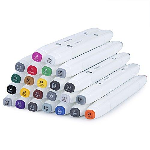 Hakkin 24 Farben Doppeltextilmarker Textilmarker Pinselstift Set Stoffmalstifte Giftige Filzstifte für Tshirts, Schuhe, Taschen, Jutebeutel, und Andere Stoffarten