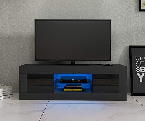 Panana TV Board Lowboard Fernsehschrank weiß Hochglanz 125 x 35 x 40cm inkl. Mehrfarbiges LED
