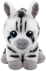 TY Unisex Kuscheltier Weiß Stripes Zebra 15 cm Plüschtier Glubschis