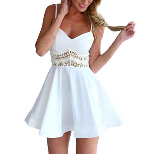Elecenty donne abito svasato sexy da donna con scollo a v in pizzo senza maniche (size:m, bianco)