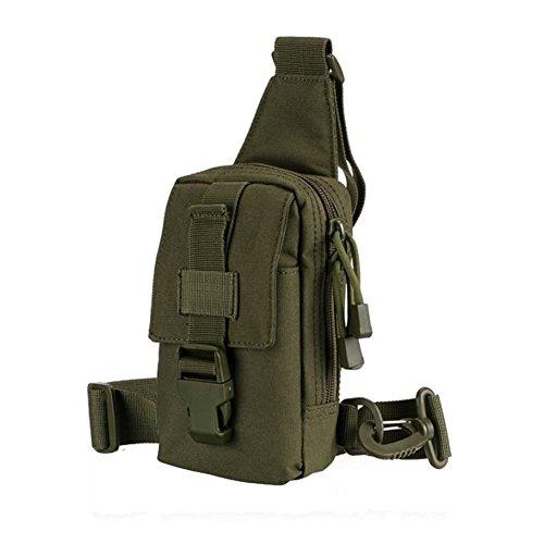 Gespout leggero tattico camouflage petto pacchetto multifunzionale nylon una cinghia Sling zaino, CP camouflage, 18X11X5CM Green