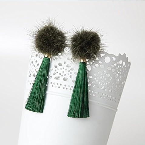 WeterCos (TM) Fashion Winter Vintage Pom Pom Earrings Royal Drop