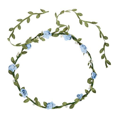 TOOGOO(R)Guirlande Florale Fille Femme Fete Mariage Boho Bande de Cheveux bleu clair