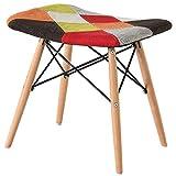 Sedia patchwork in tessuto retrò sedia multicolore sgabello divano sedia da ufficio sedia vintage con gamba in legno per soggiorno camera da letto sala da pranzo set mobili per ufficio (Rosso)
