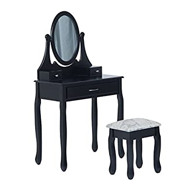 HOMCOM Wooden Dressing Table Vanity Set 3 Drawer Makeup Bedroom Furniture Shabby Chic Style Jewelry Cosmetic Storage Black w/ Padded Stool & Mirror - cheap UK light shop.
