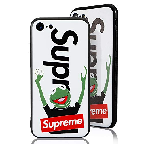 SUP Frog Case [ Passend für iPhone 7/8, in Weiß ] Supreme x Kermit der Frosch Hülle - Fühlbares 3D-Motiv Cover