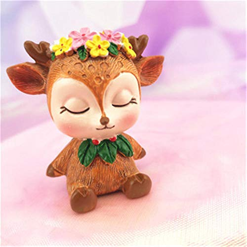 ASFAS Harz Handwerk Cartoon Deer Nette Kuchen Backen Ornament Dekoration Car Home Desktop Schlafzimmer Tier Weihnachten Schmuck Dekoration -